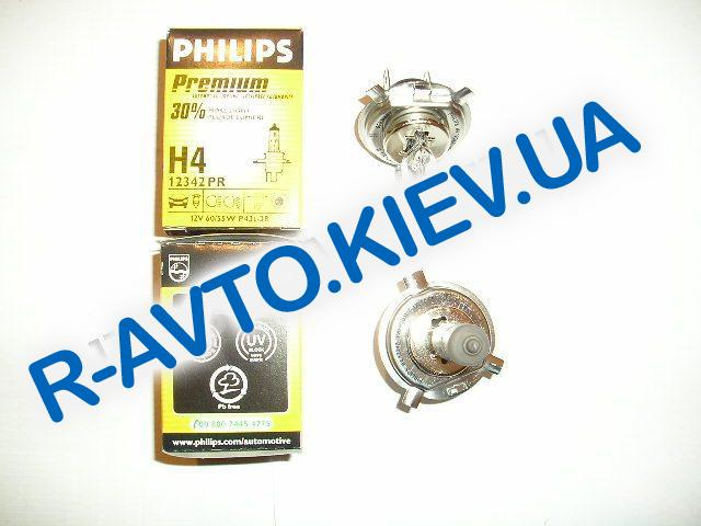 Лампа PHILIPS H4 12v 60|55-43 Premium +30% (1 шт.) (12342)