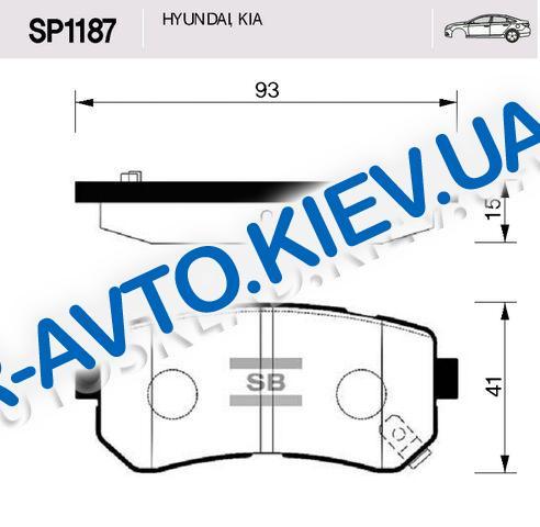 Колодки задние тормозные Accent (MC), Hi-Q (Корея) (SP1187) дисковые