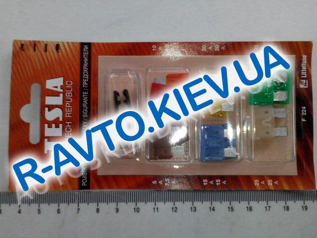 Предохранители TESLA (F224), 5-40А, (плоские) к-т 12 шт. (блистер) с пинцетом