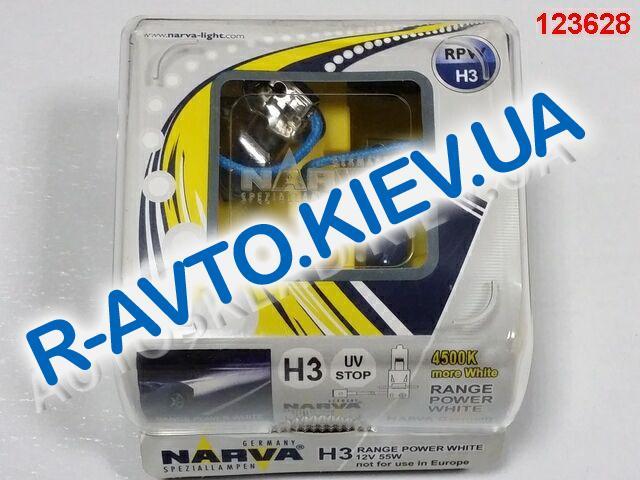 Лампа NARVA TWIN SET H3 12V 55W RANGE POWER WHITE (48602) (пара) синие, карт. упак.(противотуманка)