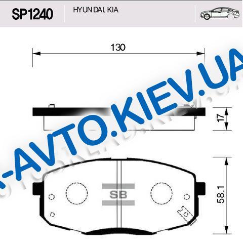 Колодки передние тормозные Ceed (ED), HI-Q (Корея) (SP1240)
