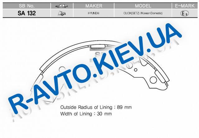 Колодки задние тормозные Getz, HI-Q (Корея) (SA132) с ABS