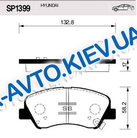 Колодки передние тормозные Accent (RB), HI-Q (Корея) (SP1399)