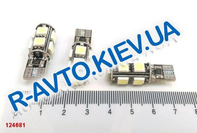 "Лампа светодиод б|ц 12| 5  T10  9SMD (50 х 50) ""обманка"" белая"