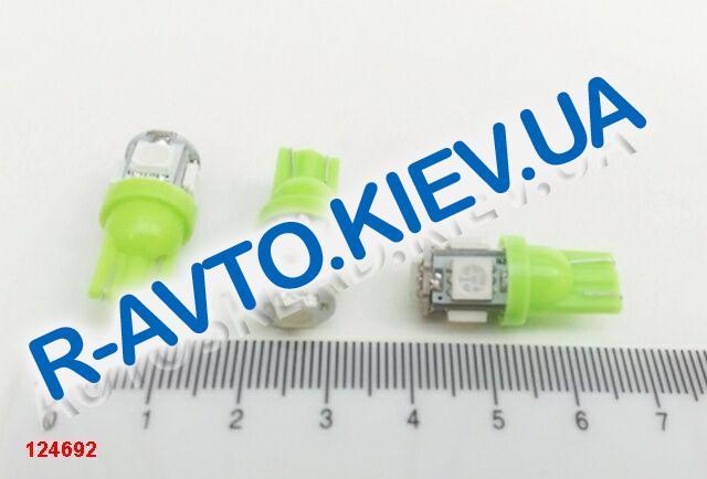 Лампа светодиод б|ц 12| 5  T10  5SMD (50 х 50) зеленая