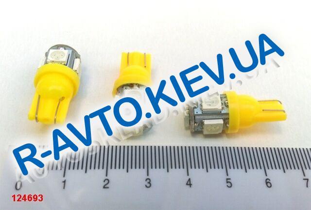 Лампа светодиод б|ц 12| 5  T10  5SMD (50 х 50) желтая