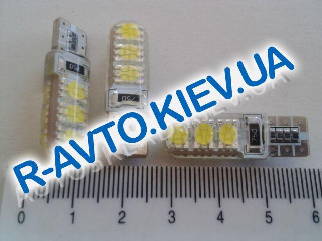 Лампа светодиод б|ц 12| 5  T10  6SMD в силиконе белая