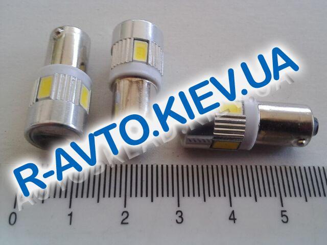 Лампа светодиод б|ц 12| 5  T10  6SMD (56 х 30) с линзой белая