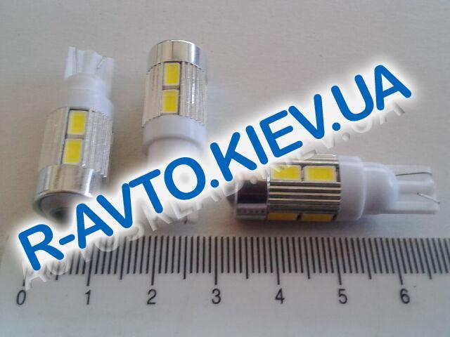 Лампа светодиод б|ц 12| 5  T10 10SMD (56 х 30) с линзой белая