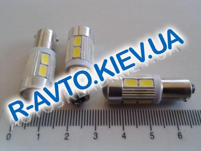 Лампа светодиод с|ц 12| 4  T4W BA9s 10SMD (56 х 30) с линзой белая