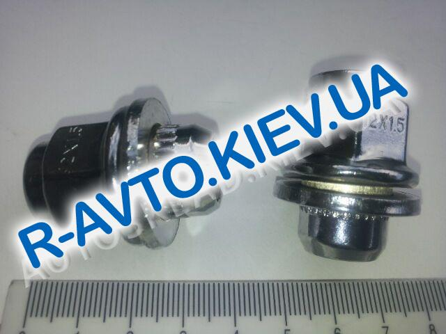 Гайка колеса М12х37,5х1,50 хром|с шайбой|шляпка плоская|ключ 21