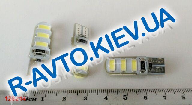 Лампа светодиод б|ц 12| 5  T10  6SMD (56 х 30) в силиконе белая