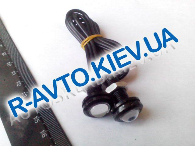 Светодиод с резьбой|черный корпус|белый (2 шт) d18 мм