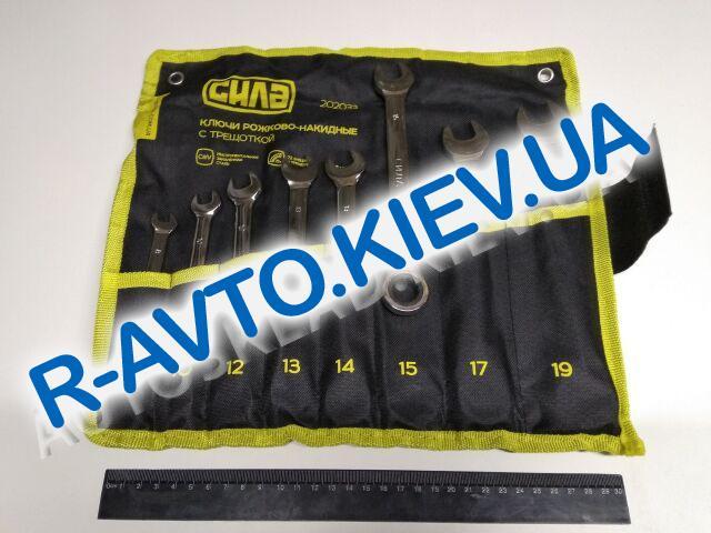 Ключи (набор) СИЛА (202033) 8 шт. 8-19  в чехле|CrV|рожково-накидные с трещоткой